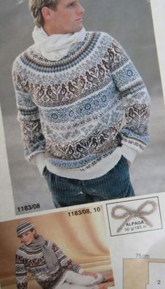 Kofte Fair Isle Knitting Patterns, Fair Isle Pattern, Knitting Charts, Sweater Knitting Patterns, Knitting Designs, Knit Patterns, Punto Fair Isle, Pinterest Crochet, Norwegian Style