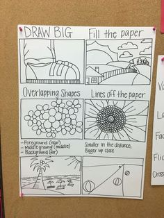 Draw large, overlap shapes, go off the edge Elementary Art Rooms, Art Lessons Elementary, Middle School Art, Art School, High School, Art Doodle, Art Room Posters, Classe D'art, Art Bulletin Boards