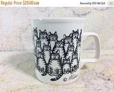 30% FALL SALE Kliban Cat Mug Multi Cat Ceramic Kiln Craft 80s