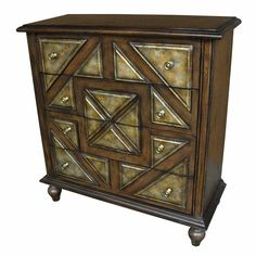 Tall Chest with Gold Triangle Panel Design