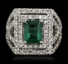 14KT White Gold 2.57ct Emerald and Diamond Ring A5533 : Lot 595
