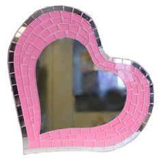 Pink Glass Mirror Mosaic Love Heart Plaque Wall Home decor Interior design gift £24.00 + free post uk