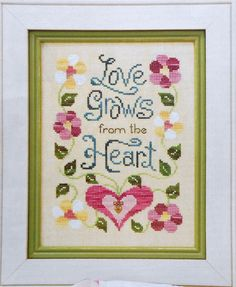 Michelle M. Lash LOVE GROWS SAMPLER By Brittercup Designs Flowers Heart - Counted Cross Stitch Pattern Chart - fam. $4.75, via Etsy.