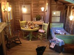 Cabin found on Greggs Miniature Imaginations. If you can't LIVE in a tiny home, build and furnish a miniature version!!