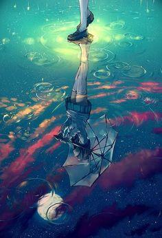 Drop and Rain Pictures Catalog) - Art Drawings Art Manga, Art Anime, Manga Anime, Deep Paintings, Amazing Paintings, Digital Paintings, Wallpaper Animé, Scenery Wallpaper, Anime Girl Drawings