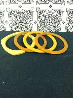 Bakelite Butterscotch Yellow Square Round Bangle Bracelets Vintage Lot Of 4 #Bangle