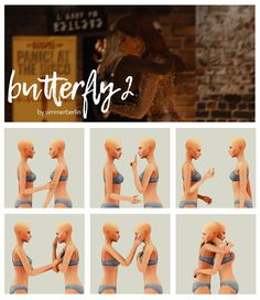 """sims 4 cc // custom content pose pack // """"Butterfly by Simmer Berlin Sims 4 Couple Poses, Couple Posing, Couple Shoot, Sibling Poses, Newborn Poses, Sims 4 Family, Butterfly Pose, The Sims 4 Packs, Best Friend Poses"""