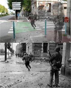 The Ghosts of World War II  Image Above: Soldiers race up Avenue de Paris in Cherbourg in 1944, speeding past the rubble and over modern-day road markings  Image Below: The original image from 1944, before it was laid over a photo taken from the exact same spot today.