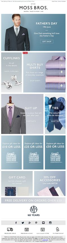 Father's Day Email with various offers and recommendations from Moss Bros Email Design Inspiration, Moss Bros, Buy Shirts, Shirt Shop, Email Marketing, Free Delivery, Fathers Day, Website, Spring