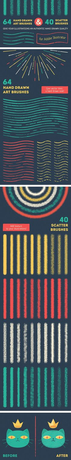 Buy Vector Brush Set by koltsovserezha on GraphicRiver. This brush set includes: 64 hand drawn art brushes from longest to shortest; 40 scatter brushes for Adobe Illustrator. Graphic Design Tools, Graphic Design Tutorials, Tool Design, Graphic Design Inspiration, Design Elements, Design Process, Design Design, Design Trends, Adobe Illustrator Tutorials