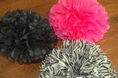 Tissue paper pom poms  Hot Pink/Zebra/Black  9 pc por DecoPOMS, $25,00