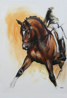 Beautiful Equine horse LE dressage movement based print 'Flow' from an original mixed media sketch individually signed