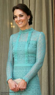 hrhduchesskate: Royal Tour, 2016, Day 3, New Delhi, India, April 12, 2016-The Duchess of Cambridge in a Temperley London jade lace dress