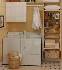 shelving will be like ours plus we have hanging area..def a idea to pin for our small laundry room come Christmas