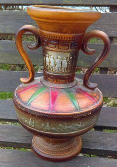 Vintage Jar Pottery  Aztec Jar with Two Ears by GenesisVintageShop