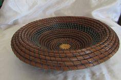 Pine Needle Basket with Blue stripe by KandApineneedlebskt on Etsy