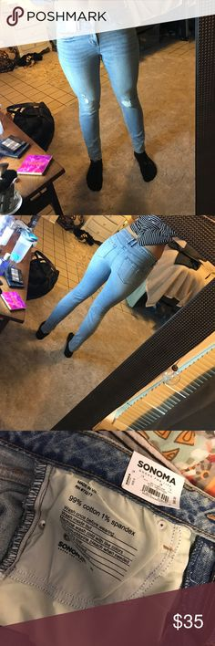 NWT Light wash destressed Size 6 jeans Never worn besides to model for Poshmark. Bought and never worn and now just don't fit how I like. For model pics I'm 5'8 athletic built. Reasonable offers are considered but please be considerate ☺ xo Sonoma Jeans Skinny
