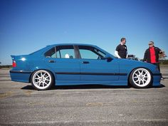 Nice blue BMW e36 on some white BBS RK wheels