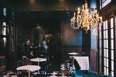 Finca -  SLC restaurant design by cityhomeCOLLECTIVE #brass #chandelier #bar #marble #tile