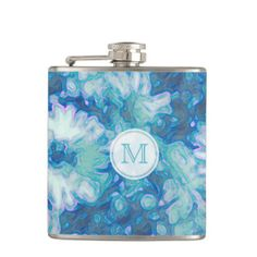 Blue Daisy: Monogram Flask