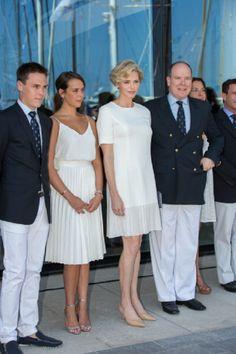 (R-L) Prince Albert II of Monaco with his wife Princess Charlene of Monaco, his niece Pauline Ducruet  and his nephew  Louis Ducruet during the new Monaco Yacht Club opening, 20.06.2014 in Monte-Carlo, Monaco.