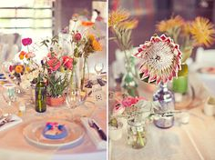 Obsessed with these centerpieces. Mismatched bottles, oversized desert flowers. Marfa Desert Magic Wedding: Emily + Colby