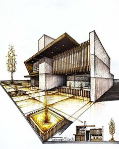 67 new ideas house sketch architecture design Sketchbook Architecture, Art Et Architecture, Architecture Concept Drawings, Architecture Magazines, Post Modern Architecture, Portfolio D'architecture, Portfolio Examples, Portfolio Booklet, Casas Containers