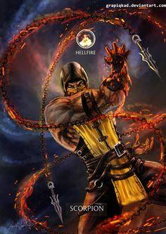 Mortal Kombat X- Scorpion Hellfire Variation por Grapiqkad Escorpion Mortal Kombat, Mortal Kombat X Scorpion, Art Of Fighting, Fighting Games, Mortal Kombat X Wallpapers, Wwe Survivor Series, Arte Ninja, Mileena, Sub Zero