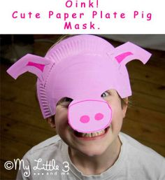Any Peppa Pig lovers? Adorable, easy to make, paper plate pig masks for the dressing up box. I love that they sit on the forehead as some kids don't like wearing full face masks and it makes it much easier for glasses wearers too. Farm Animal Crafts, Pig Crafts, Farm Crafts, Animal Crafts For Kids, Farm Animals, Paper Plate Masks, Paper Plate Crafts, Paper Plates, Paper Mask