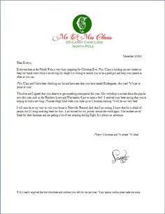 Printable Letter from Santa Claus