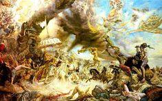 Devas and Asuras fighting on the sea shore of Milk ocean.