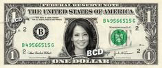 LUCY LIU on a REAL Dollar Bill Cash Money Memorabilia Collectible Celebrity Bank
