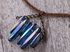 Blue Crystal Necklace on Chocolate Suede by Laineybean on Etsy, $26.00