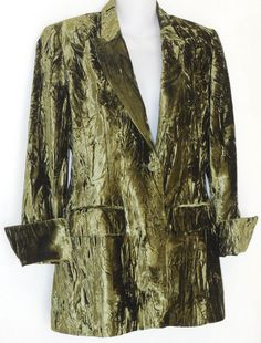 CHARLES GRAY LONDON Jacket sz 8 Green Crushed Velvet Blazer Evening #CharlesGray #Blazer