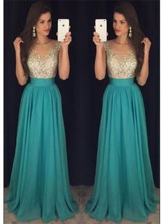 Elegant A-line beading Green long prom dress,Sweet graduation dress,cheap evening dresses