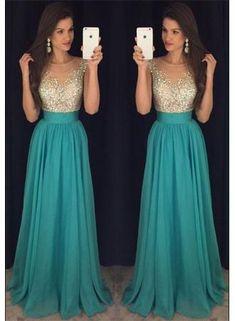 Elegant A-line beading Green long prom dress,Sweet graduation dress,cheap evening dresses