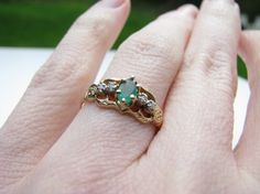 RESERVED for Amelia  - Petite Vintage Emerald and Diamond Ring