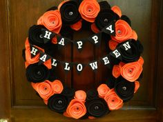 Happy Halloween Wreath - Felt Flower Wreath with Googlie Eyes and Happy Halloween Bunting - 18 inch