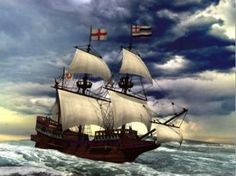 An artist's impression of the Golden Hinde, Sir Francis Drake's flagship on his circumnaviation around the world.