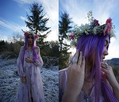 >>View all item tags on my blog! link below<<  Check out more photos and item details on my blog here: http://stardustbohemian.com/frosted/  #flowercrown #hippie #boho #bohemian #purplehair #pastelhair   Lets be friends! http://stardustbohemian.com/ https://www.instagram.com/stardustbohemian/
