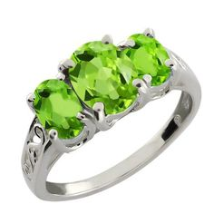 2.15 Ct Genuine Oval Green Peridot Gemstone 925 Sterling Silver Ring:Amazon:Jewelry