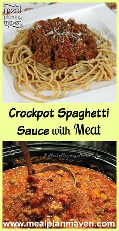 Crockpot Spaghetti Sauce with Meat l Meal Planning Maven's Blog l Simple, flavorful and best of all, there is no slaving over the stove for hours as the simmering process takes place right in your crockpot! You are going to LOVE this recipe!