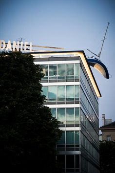 Set in a 1962 modernist office building, Hotel Daniel Vienna is a hip hotel located right next to Belvedere Palace and Vienna's Hauptbahnhof train station. A sailboat sculpture (designed by Erwin Wurm) with a twisted hull hangs off the edge of the roof.