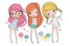 cute girls, beautiful romantic girls by NatalyS on @creativemarket