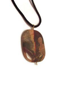 Jasper Stone Pendant with Black Satin Cord by splendidstones. Explore more products on http://splendidstones.etsy.com