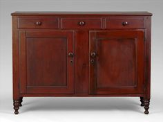 Superb 19th C American Cherry Sheraton Country Sideboard With Original