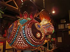 We love the fun feel of these Moroccan-style gourd lamps from Mundo Cafe in NYC