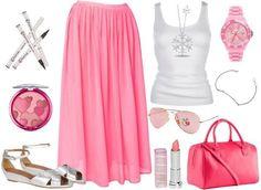 Falda color rosa/blusa color blanco