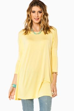 Cozy 3/4 Sleeve Tunic in Yellow by Piko / ShopSosie #yellow #3/4sleeve #soft #jersey #tunic #shopsosie