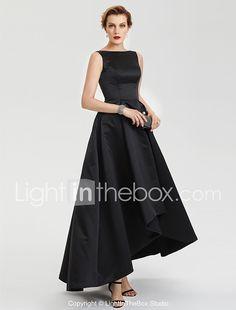 TS Couture Fiesta de Noche Formal Vestido - Vestiditos Negros Corte en A Escote Barco Asimétrica Satén con Plisado 2017 - €126.09